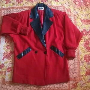Retro red wool coat w/ leather leopard print trim
